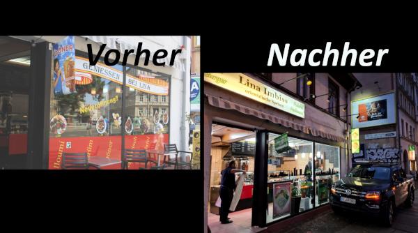 Vorher-Nachher-Vergleich eines von Milu vegan unterstützten Ladens